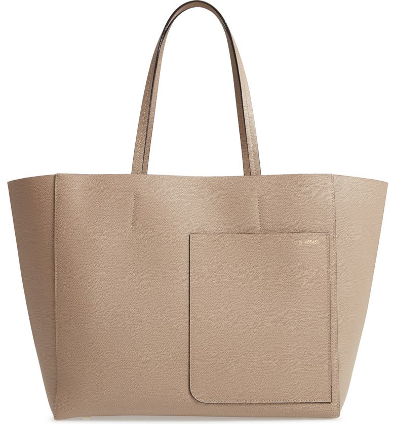 VALEXTRA Grained Leather Tote, Main, color, OYSTER