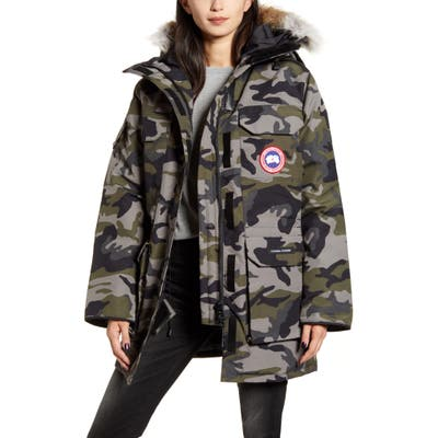 Canada Goose Expedition Hooded Down Parka With Genuine Coyote Fur Trim, Grey