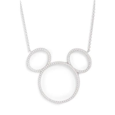 Disney Mickey Mouse Open Silhouette Silver & Crystal Pendant Necklace