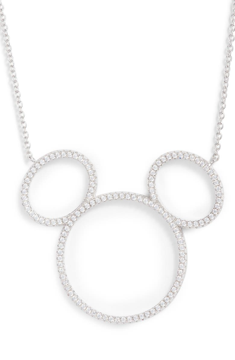 Mickey Mouse Open Silhouette Silver & Crystal Pendant Necklace by Disney
