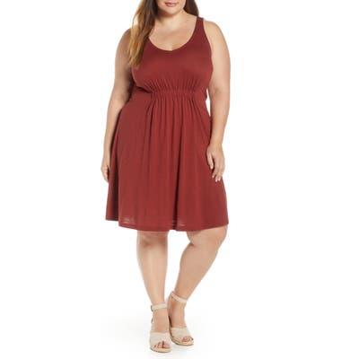 Plus Size Caslon Sleeveless V-Neck Knit Dress, Burgundy