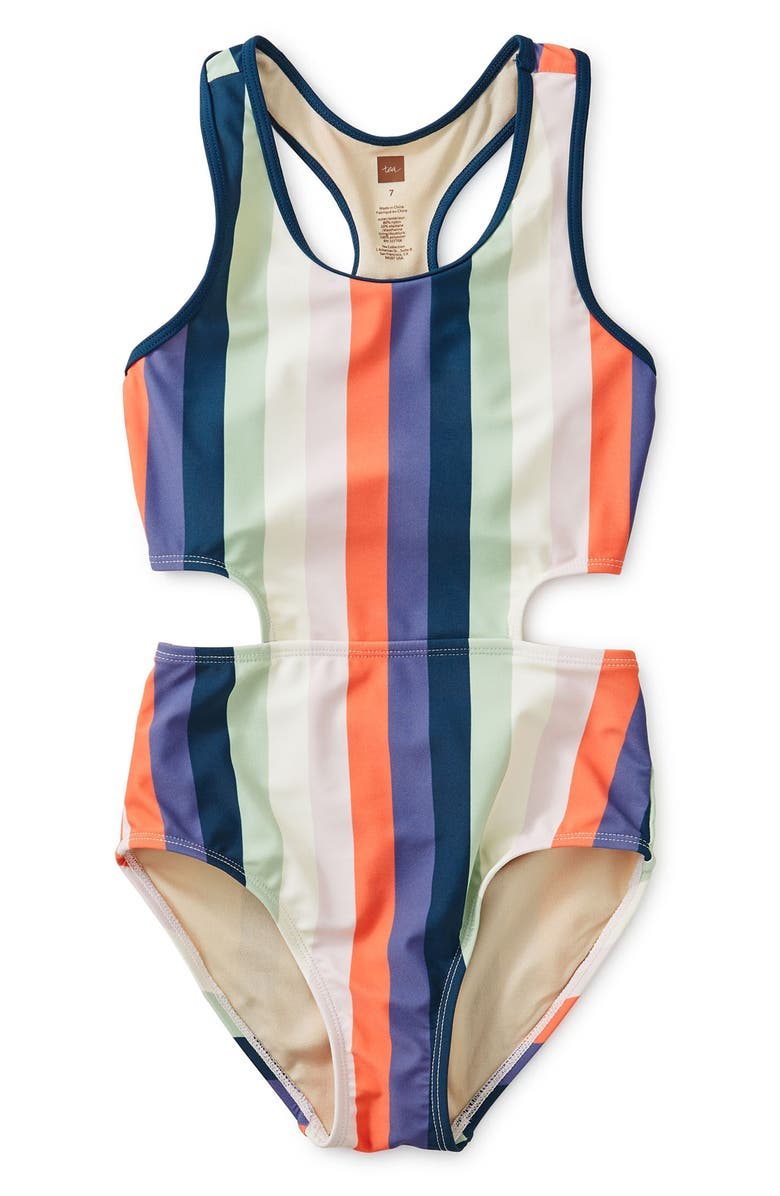 TEA COLLECTION Stripe Cutout One-Piece Swimsuit, Main, color, STRIPED