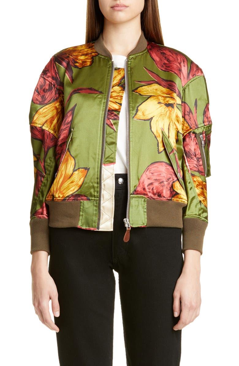 JUNYA WATANABE Floral Print Satin Bomber Jacket, Main, color, 300