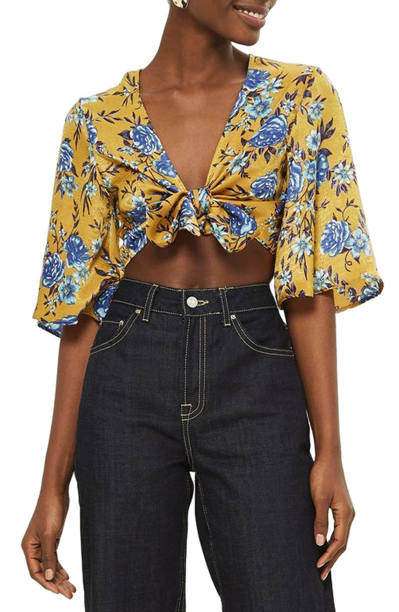 95b4a104cd Topshop Floral Knot Front Crop Top | Nordstrom