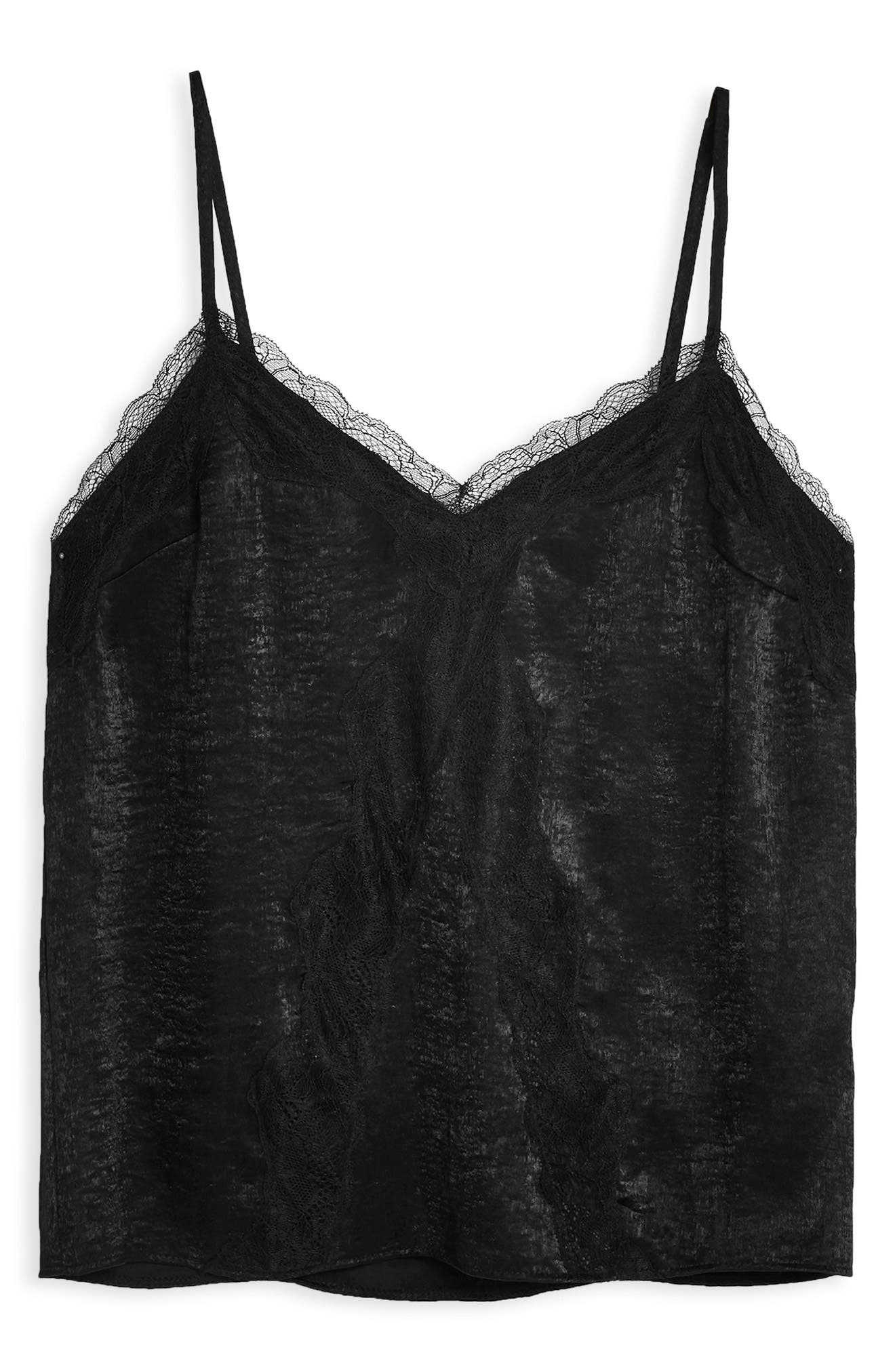 ,                             Lace Trim Camisole,                             Alternate thumbnail 3, color,                             BLACK