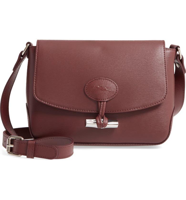 LONGCHAMP Roseau Leather Crossbody Bag, Main, color, BRANDY