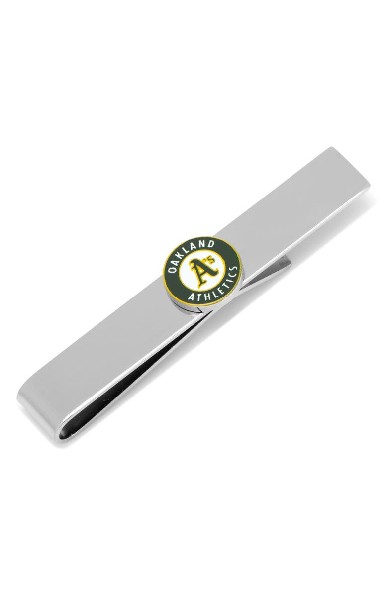 CUFFLINKS, INC. Oakland Athletics Tie Bar, Main, color, GREEN/ SILVER