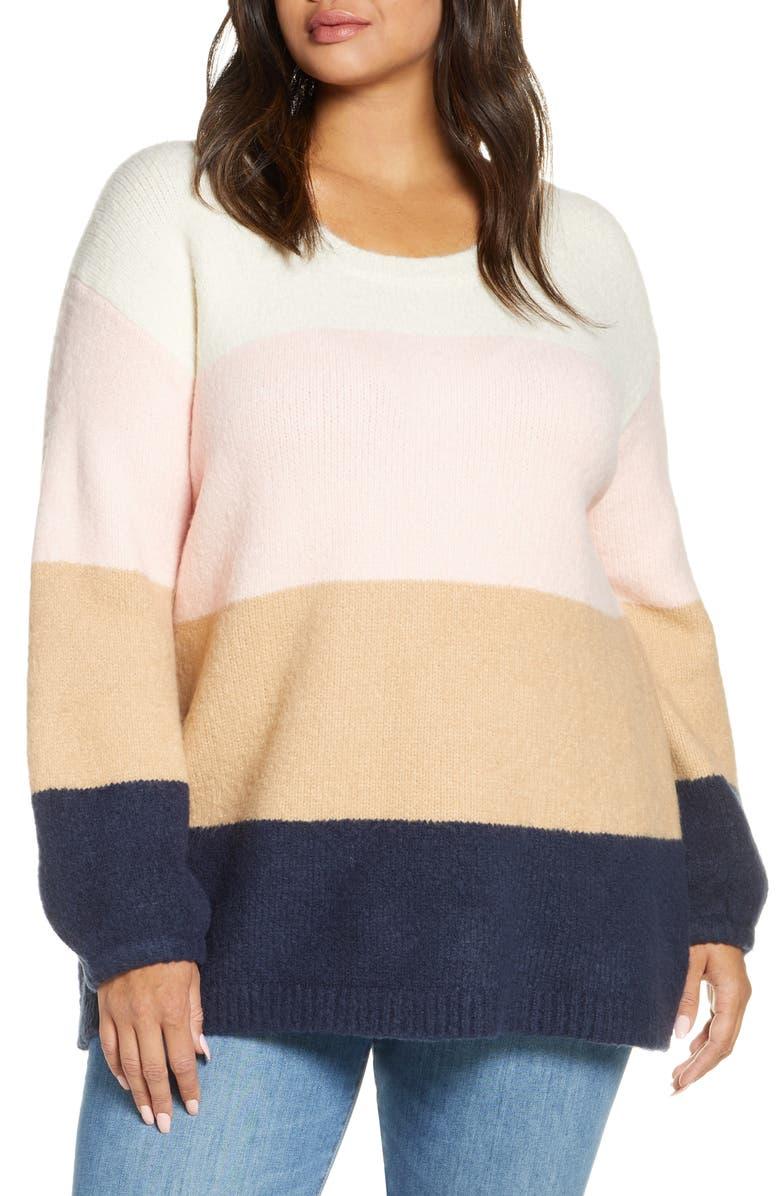 SINGLE THREAD Oversize Colorblock Crewneck Sweater, Main, color, 100