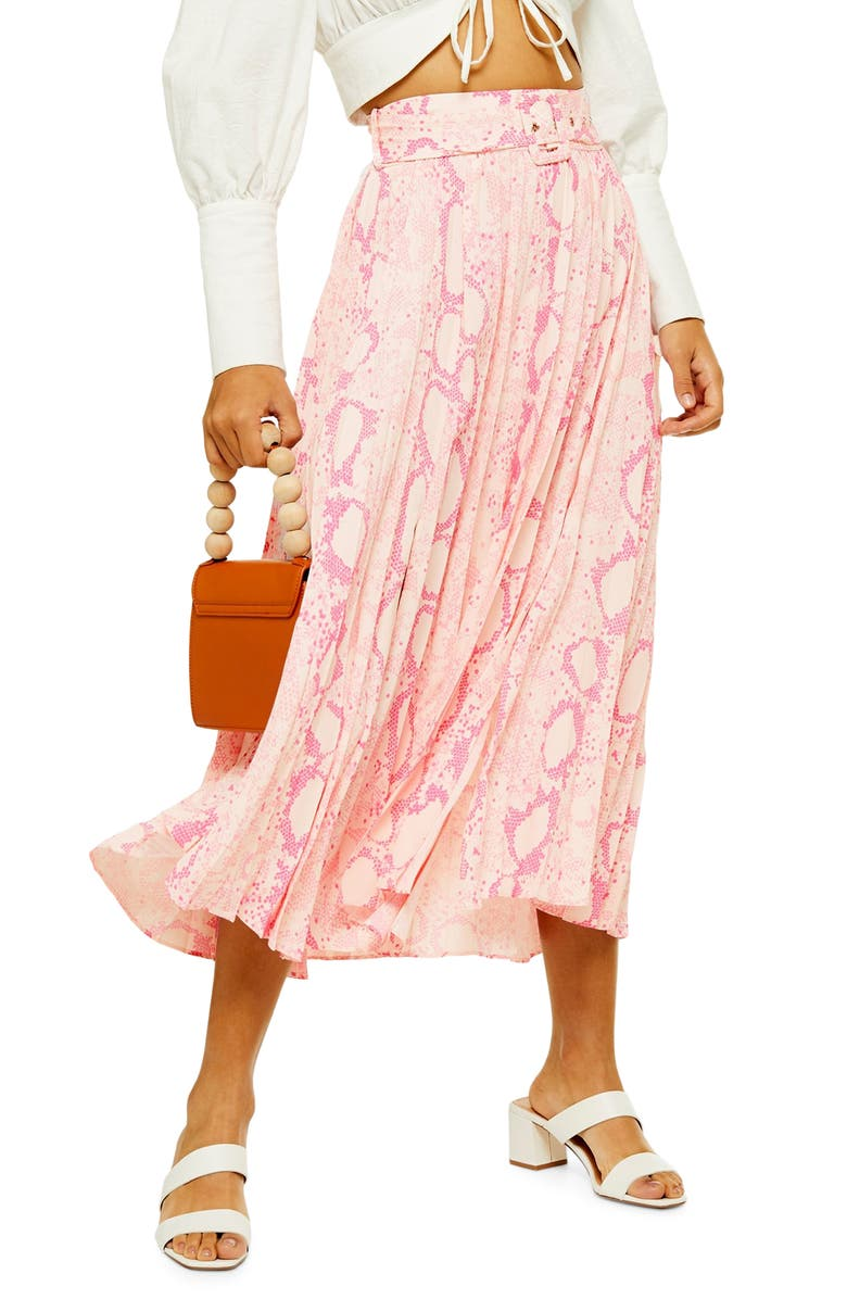 TOPSHOP Snake Print Midi Skirt, Main, color, PINK MULTI