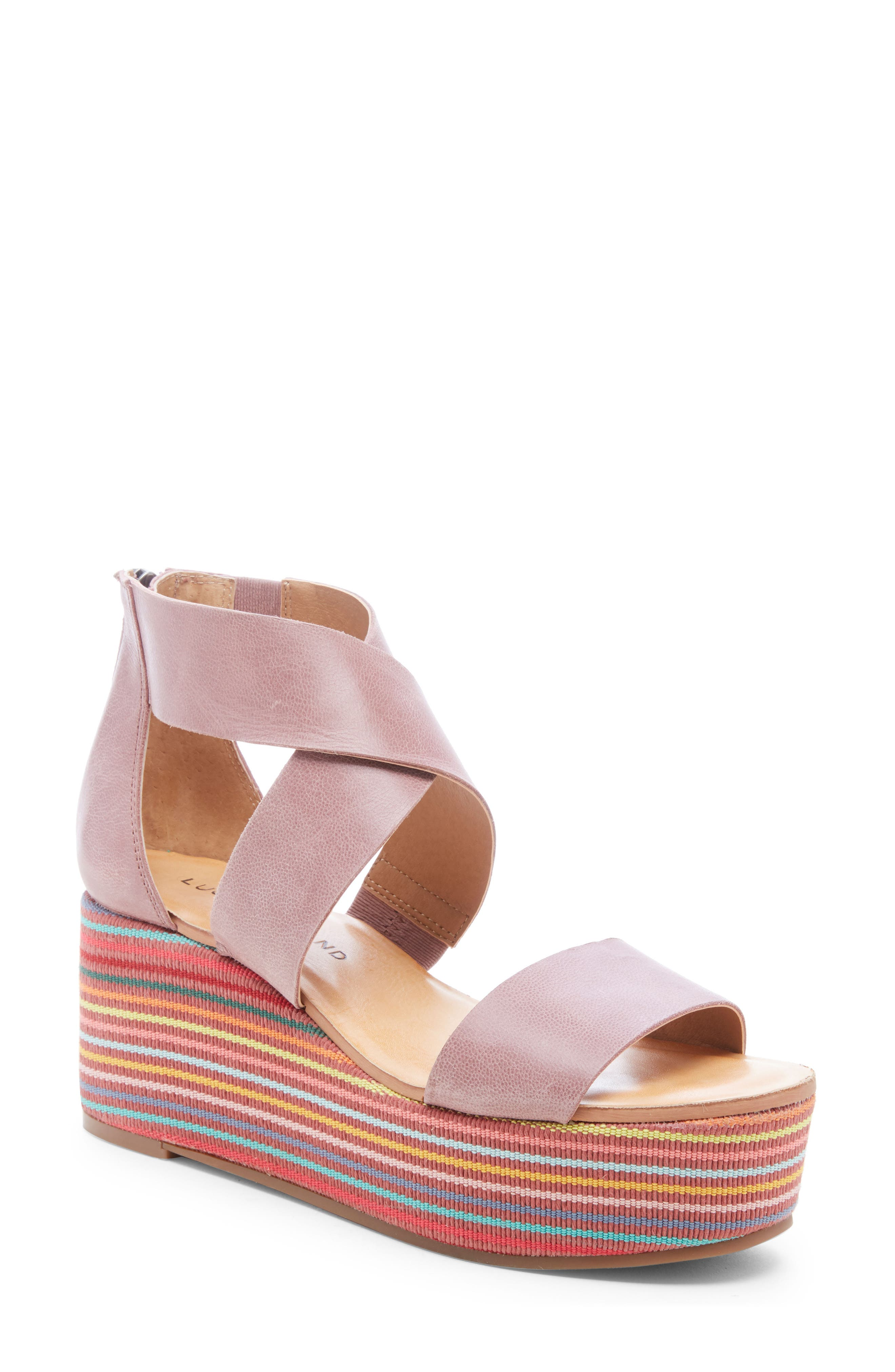 Lucky Brand Gwindolin Platform Wedge Sandal, Purple