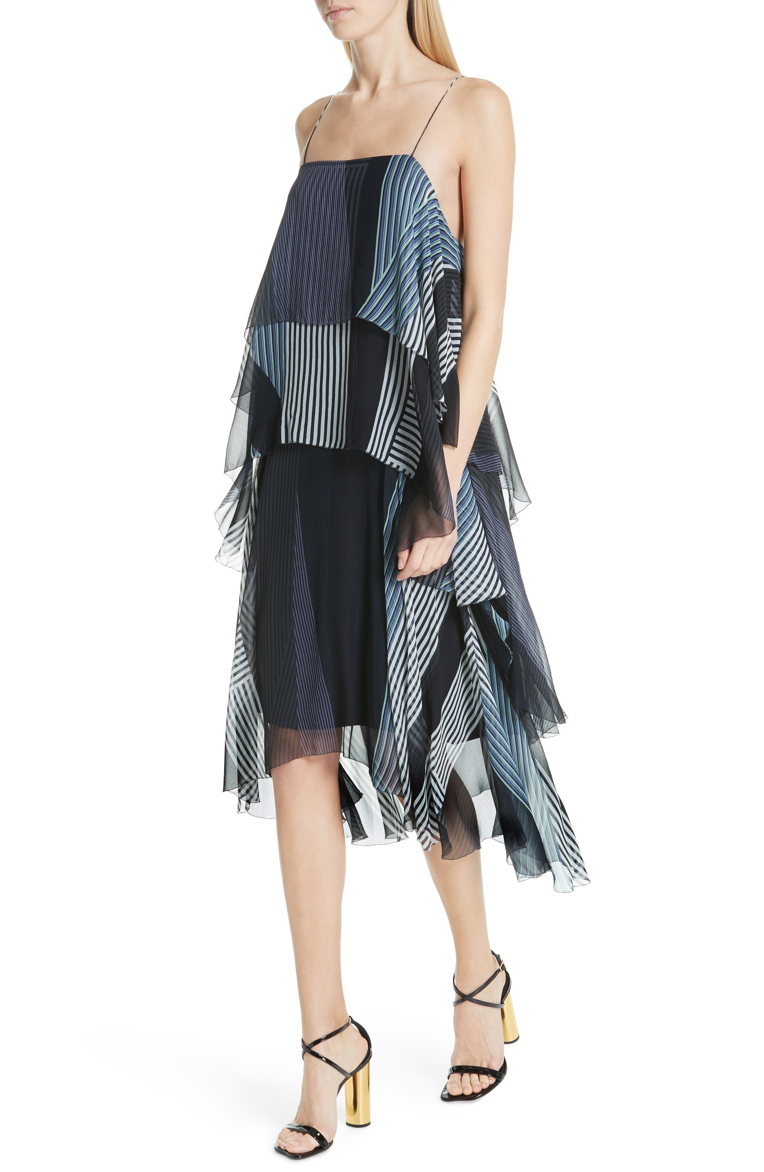 ,                             Collage Stripe Silk Tiered Dress,                             Alternate thumbnail 4, color,                             DARK NAVY MULTI