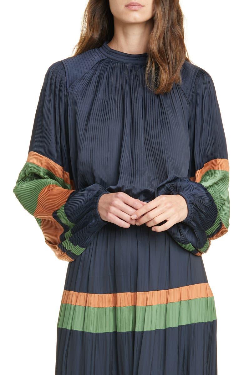 ULLA JOHNSON Rosa Stripe Sleeve Blouse, Main, color, MIDNIGHT