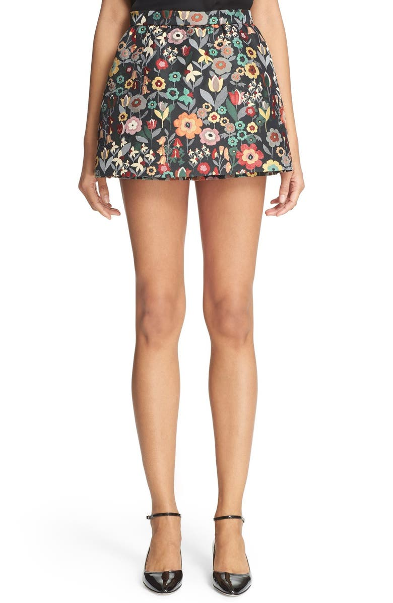 RED VALENTINO Floral Jacquard Skort, Main, color, 001