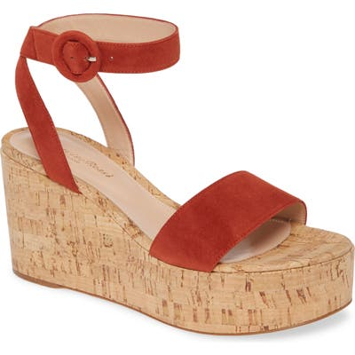 Gianvito Rossi Platform Wedge Sandal, Red