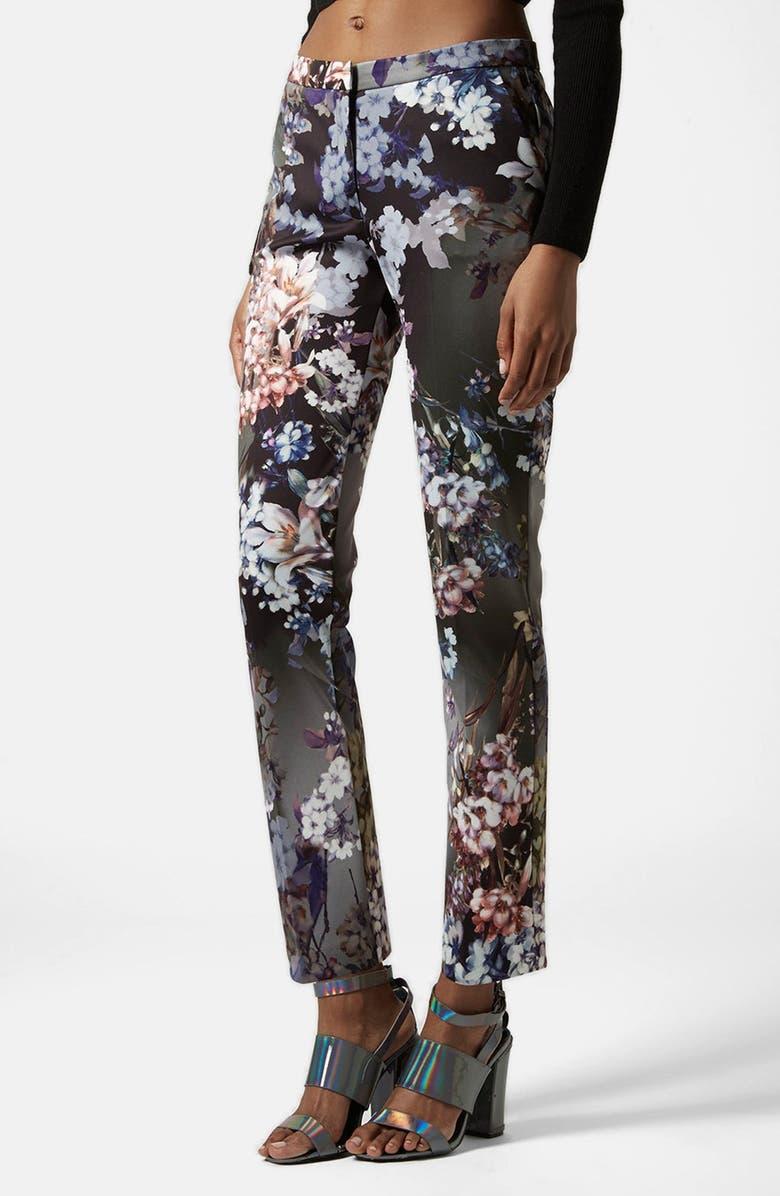 TOPSHOP Floral Print Cigarette Trousers, Main, color, 001