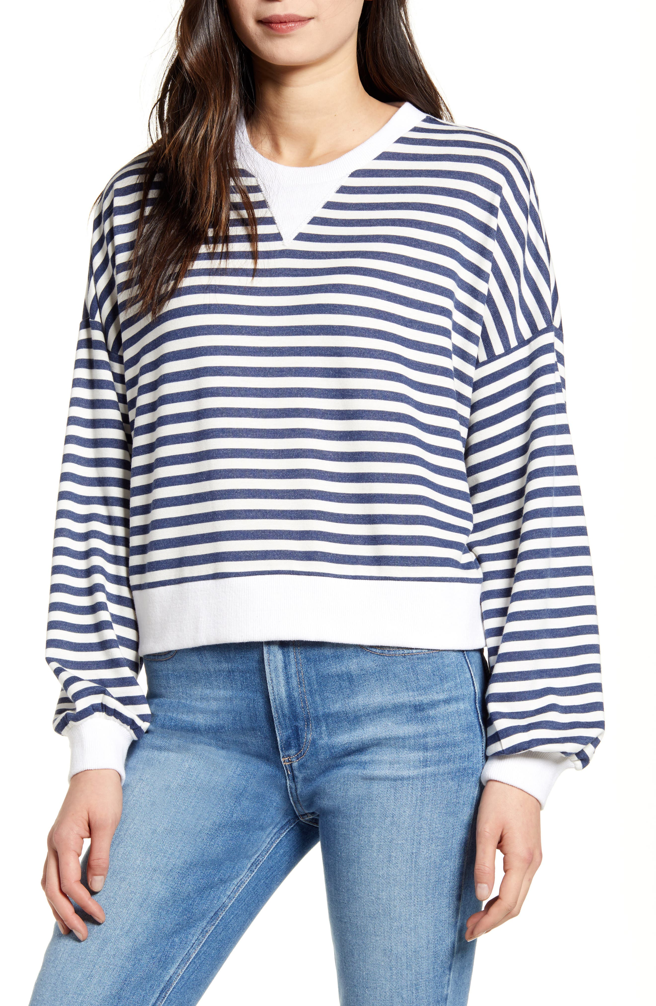 cupcakes and cashmere Slate Stripe Pullover