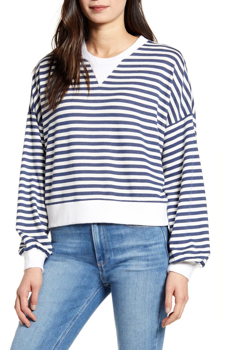 CUPCAKES AND CASHMERE Slate Stripe Pullover, Main, color, NIGHT SKY