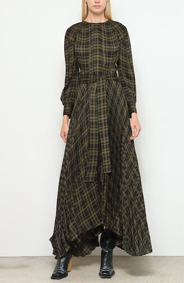 Pleated Plaid Chiffon Long Sleeve Maxi Dress, video thumbnail