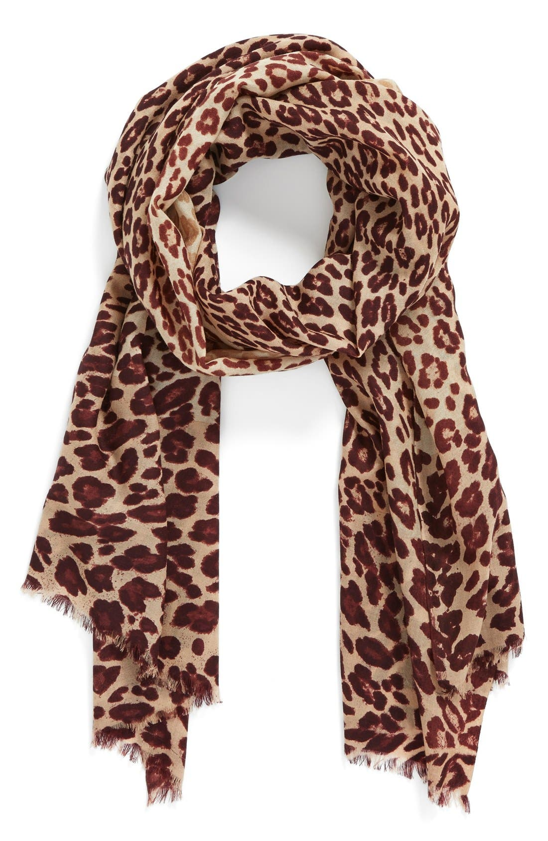 ,                             'Luxe Animal' Challis Scarf,                             Main thumbnail 7, color,                             930