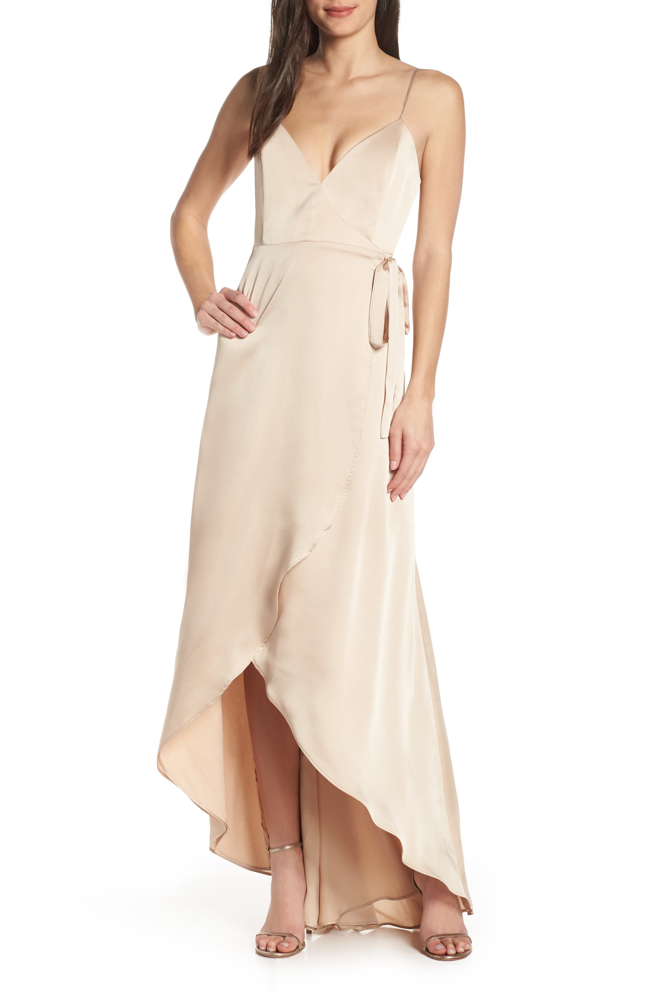 Show Me Your Mumu Mariah Wrap Evening Dress, Beige