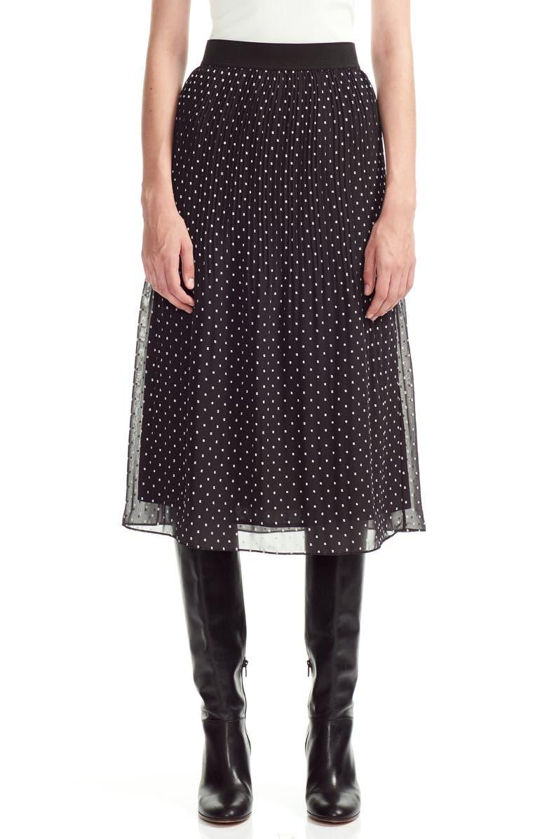 MAJE Polka Dot Pleated Chiffon Skirt, Main, color, BLACK