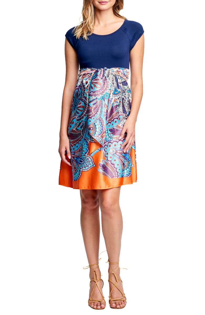 MATERNAL AMERICA Tie Front Maternity Dress, Main, color, NAVY PAISLEY PRINT