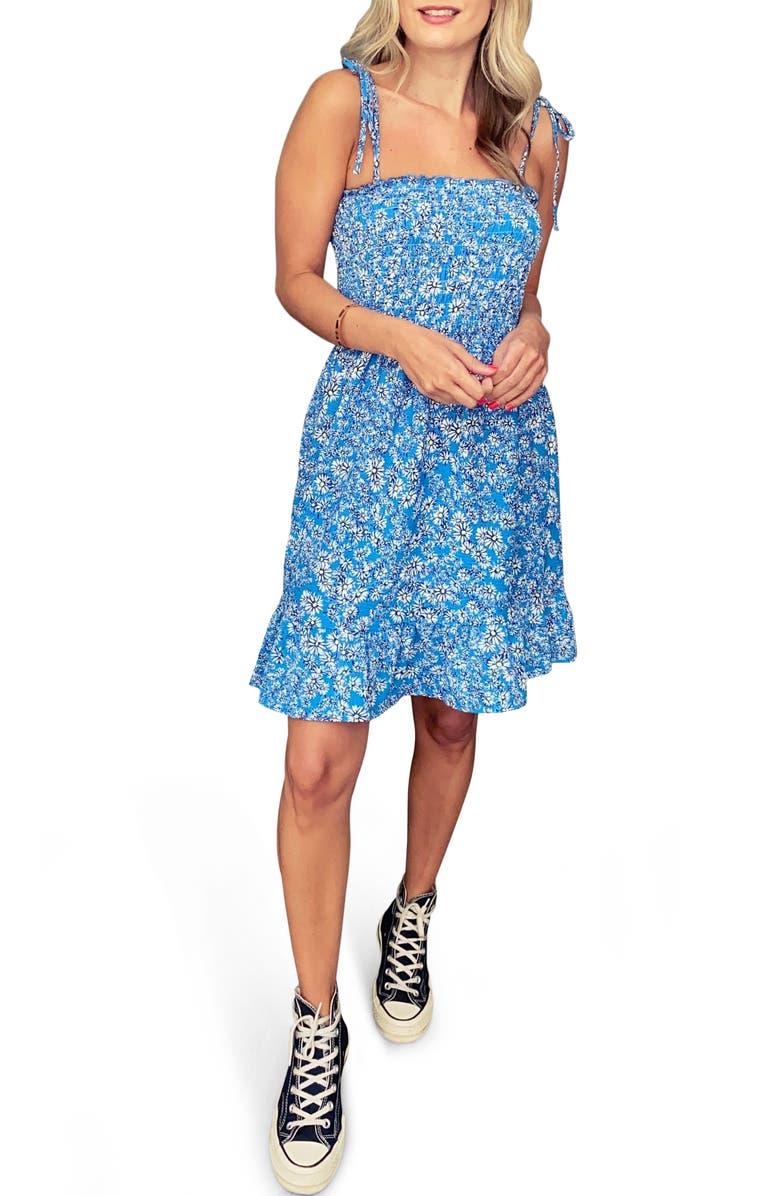 TOPSHOP Animal Print Minidress, Main, color, BLUE MULTI