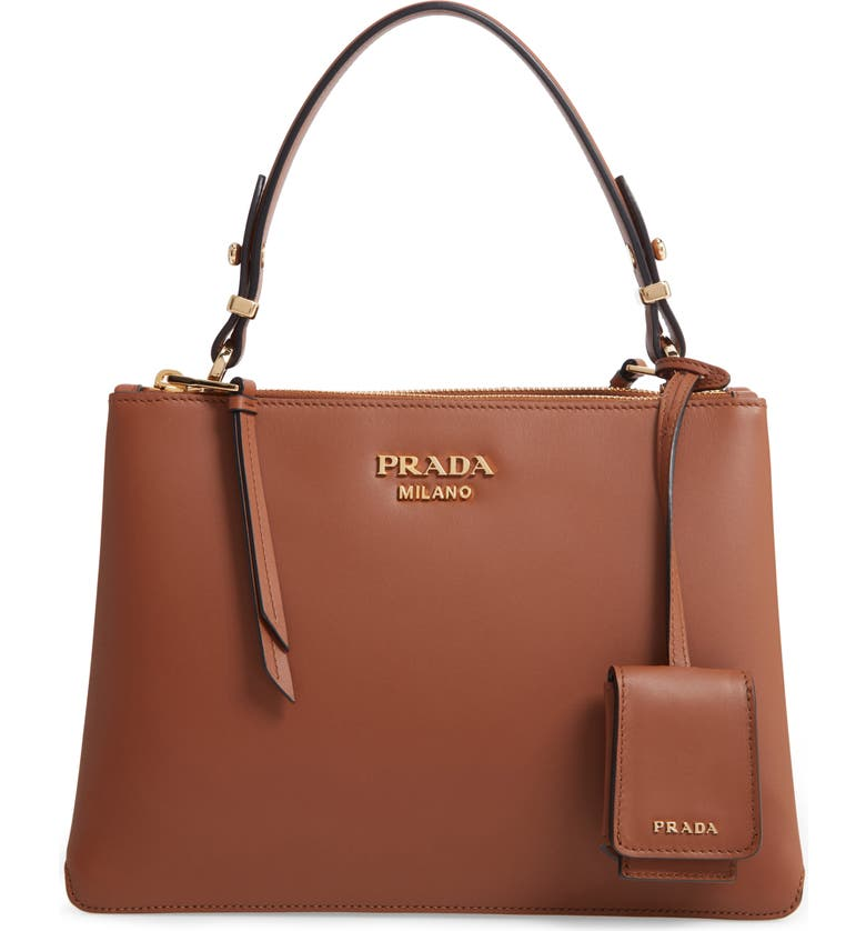 PRADA Calfskin Leather Shoulder Bag, Main, color, COGNAC