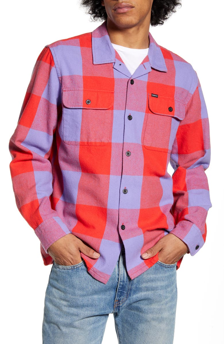 OBEY Regular Fit Button-Up Flannel Shirt, Main, color, RED MULTI