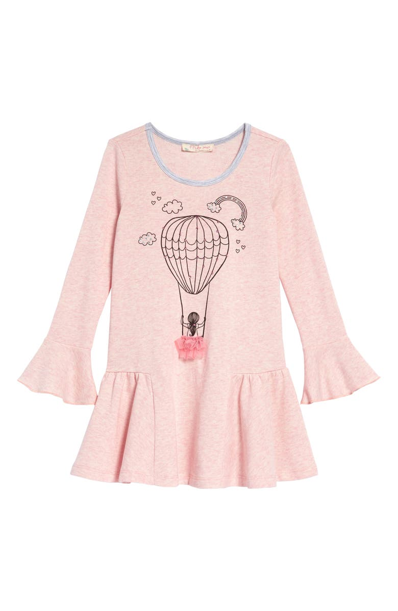 TRULY ME Embellished Balloon Graphic Long Sleeve Dress, Main, color, PINK