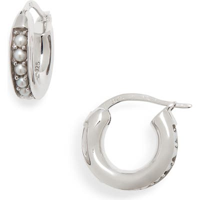 Tom Wood Small Freshwater Pearl Hoop Earrings