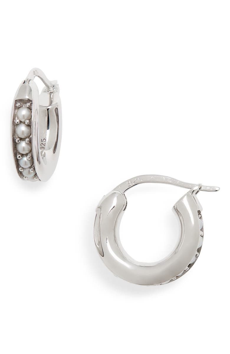 TOM WOOD Small Freshwater Pearl Hoop Earrings, Main, color, 041