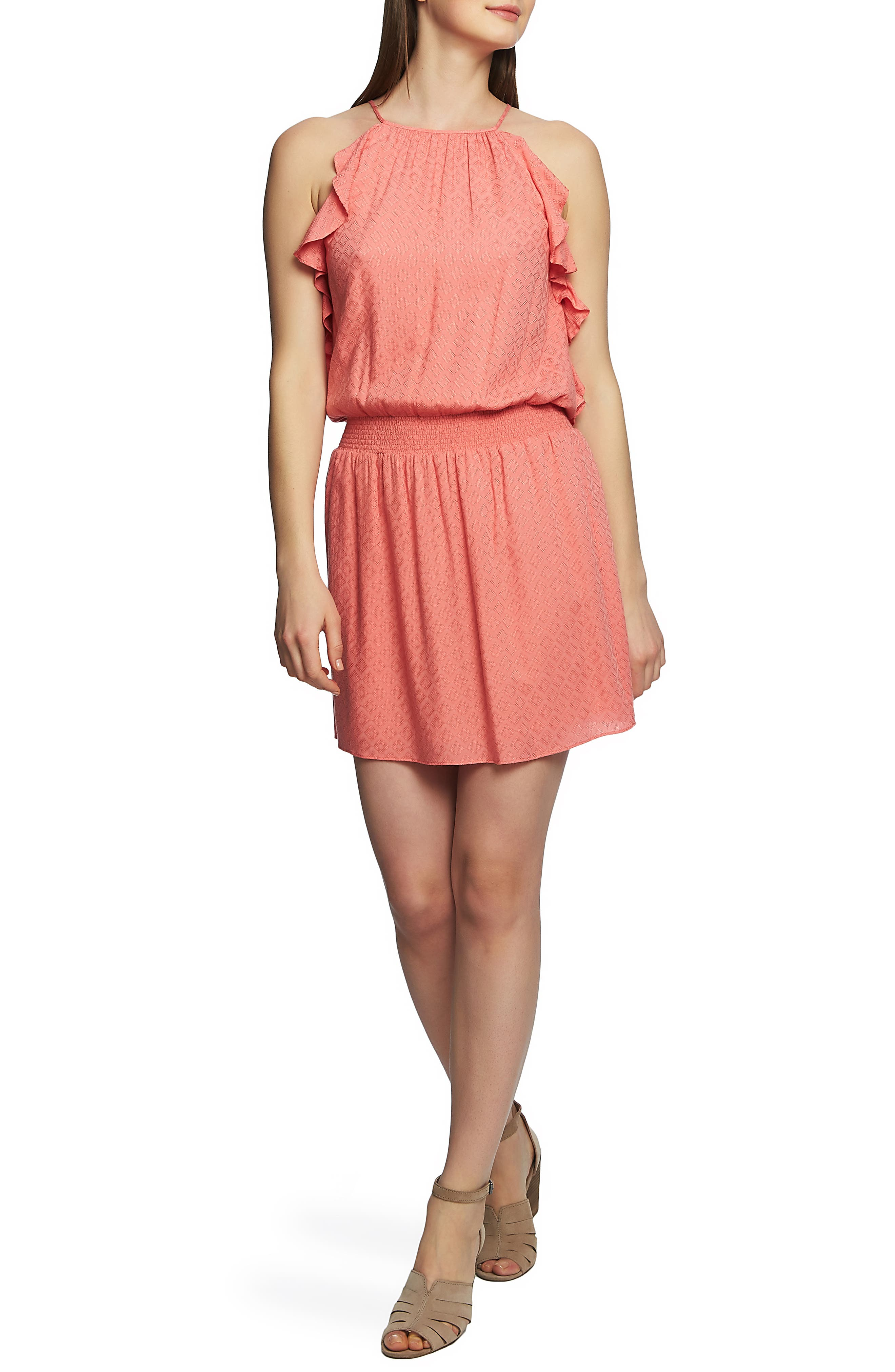 1.state Halter Neck Smocked Waist Dress, Coral