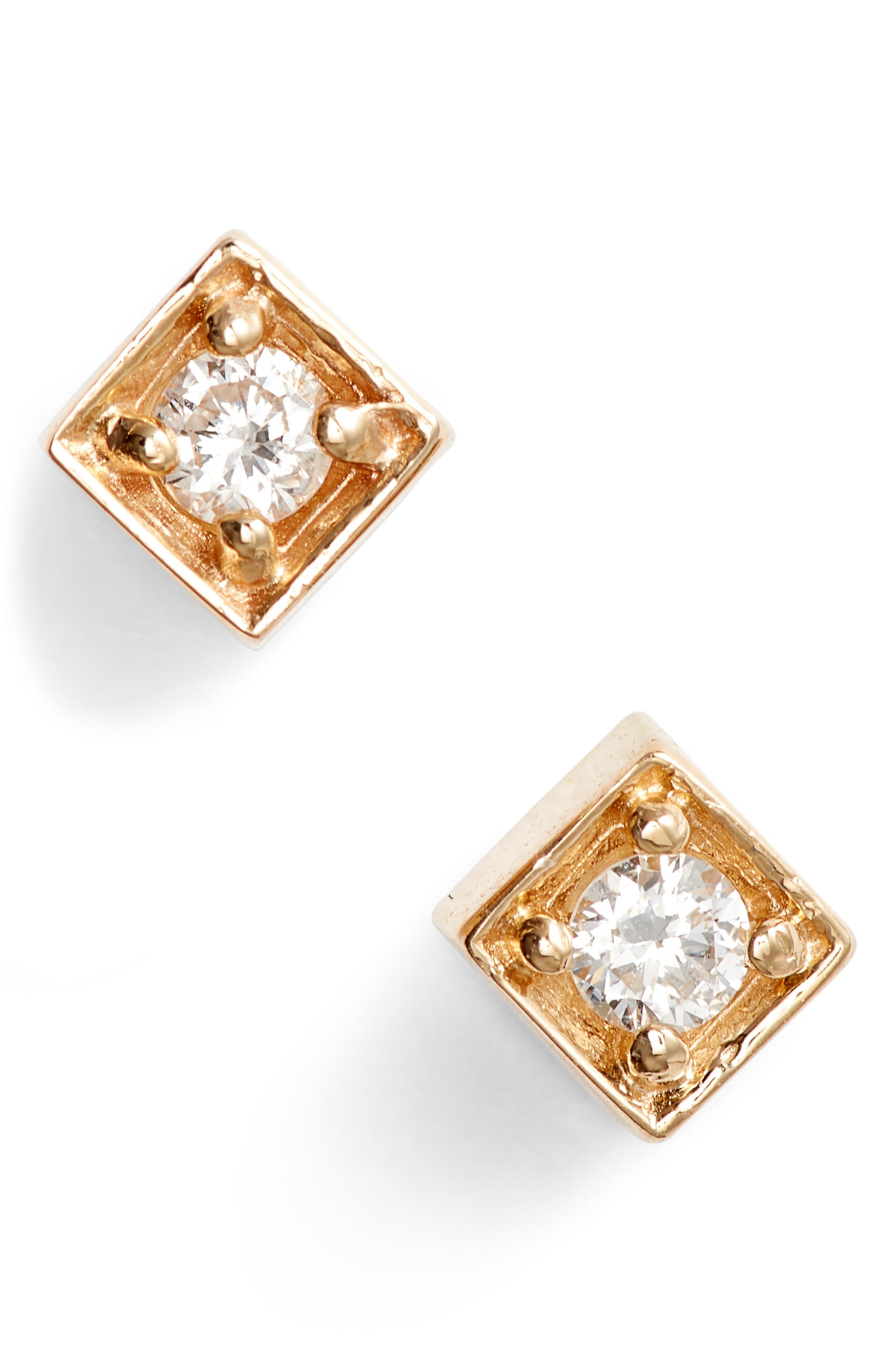 Cleo Diamond Square Stud Earrings