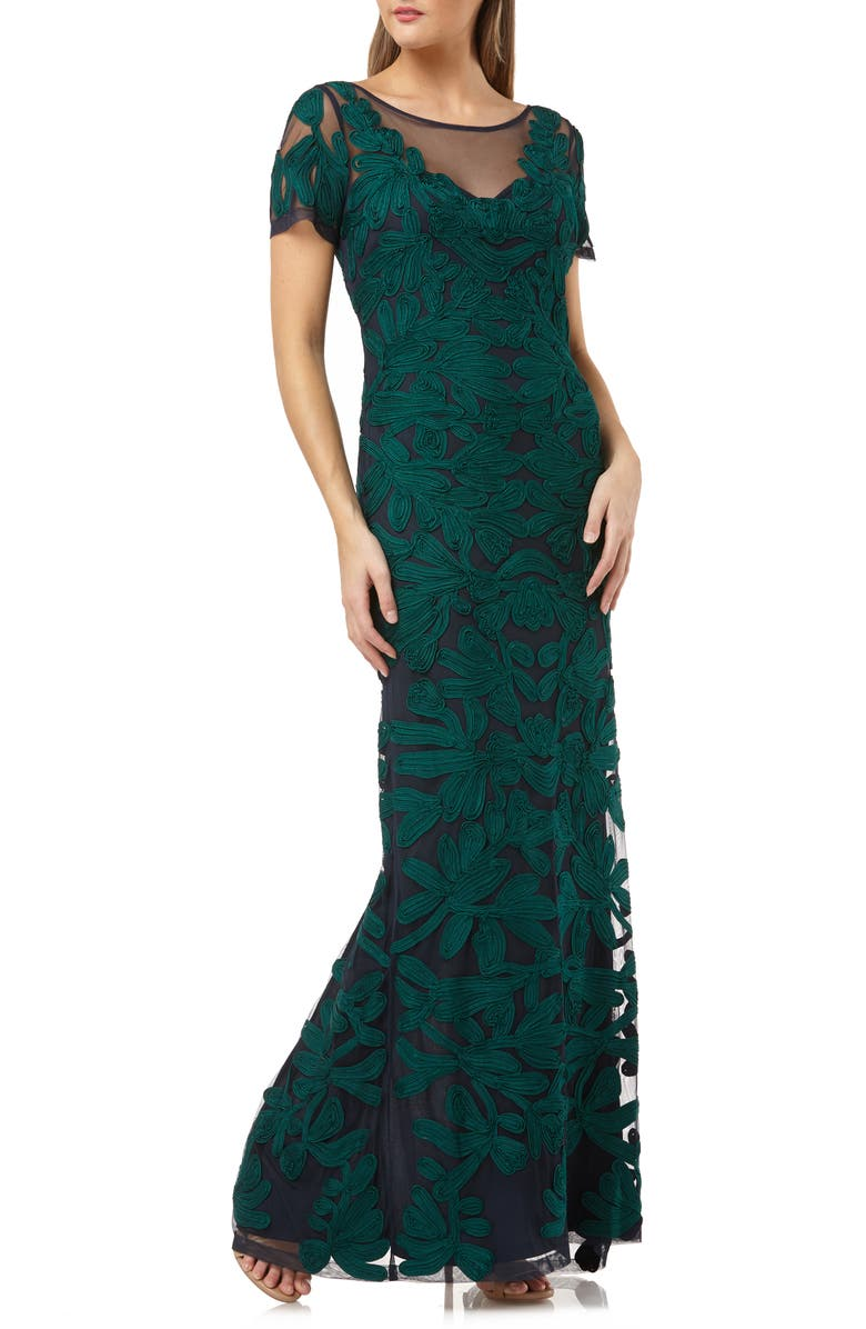 JS COLLECTIONS Illusion Yoke Short Sleeve Soutache Gown, Main, color, JADE NAVY