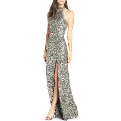 MAC Duggal Beaded A-Line Halter Gown, Grey