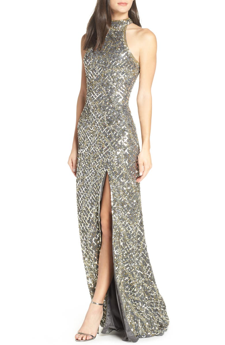MAC DUGGAL Beaded A-Line Halter Gown, Main, color, PLATINUM