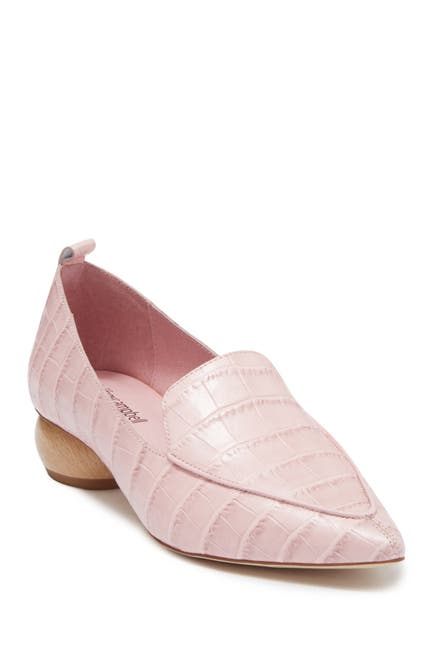 Image of Jeffrey Campbell Vinny Pointed Toe Croc-Embossed Leather Loafer