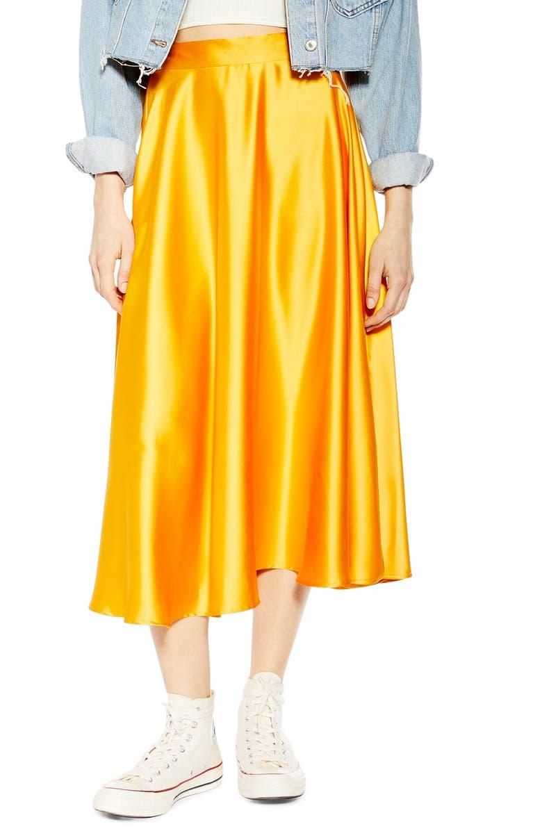 TOPSHOP Full Circle Satin Midi Skirt, Main, color, 700