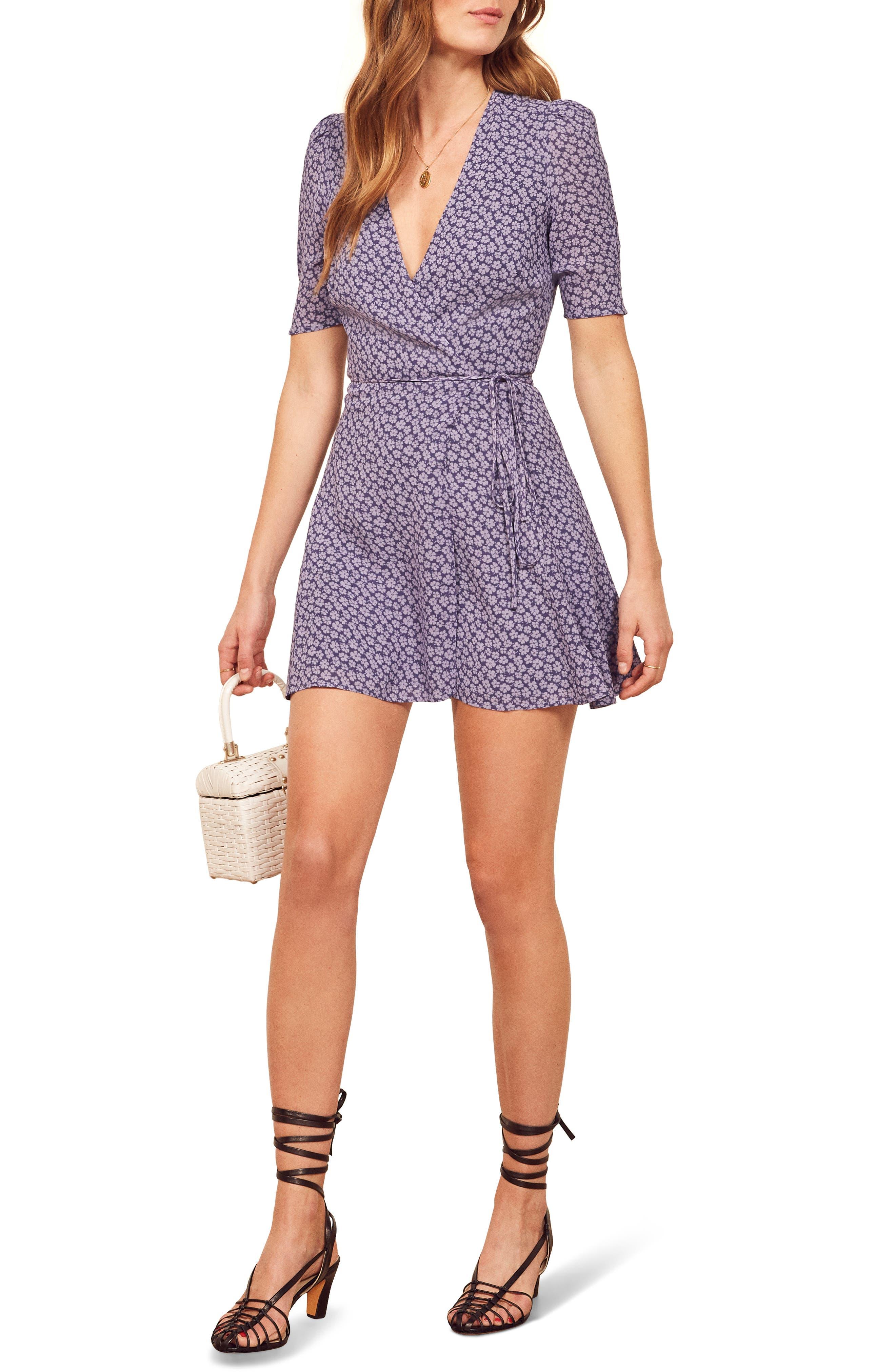 Reformation Lucky Wrap Dress, Purple
