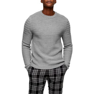 Topman Mixed Stitch Crewneck Sweater, Grey