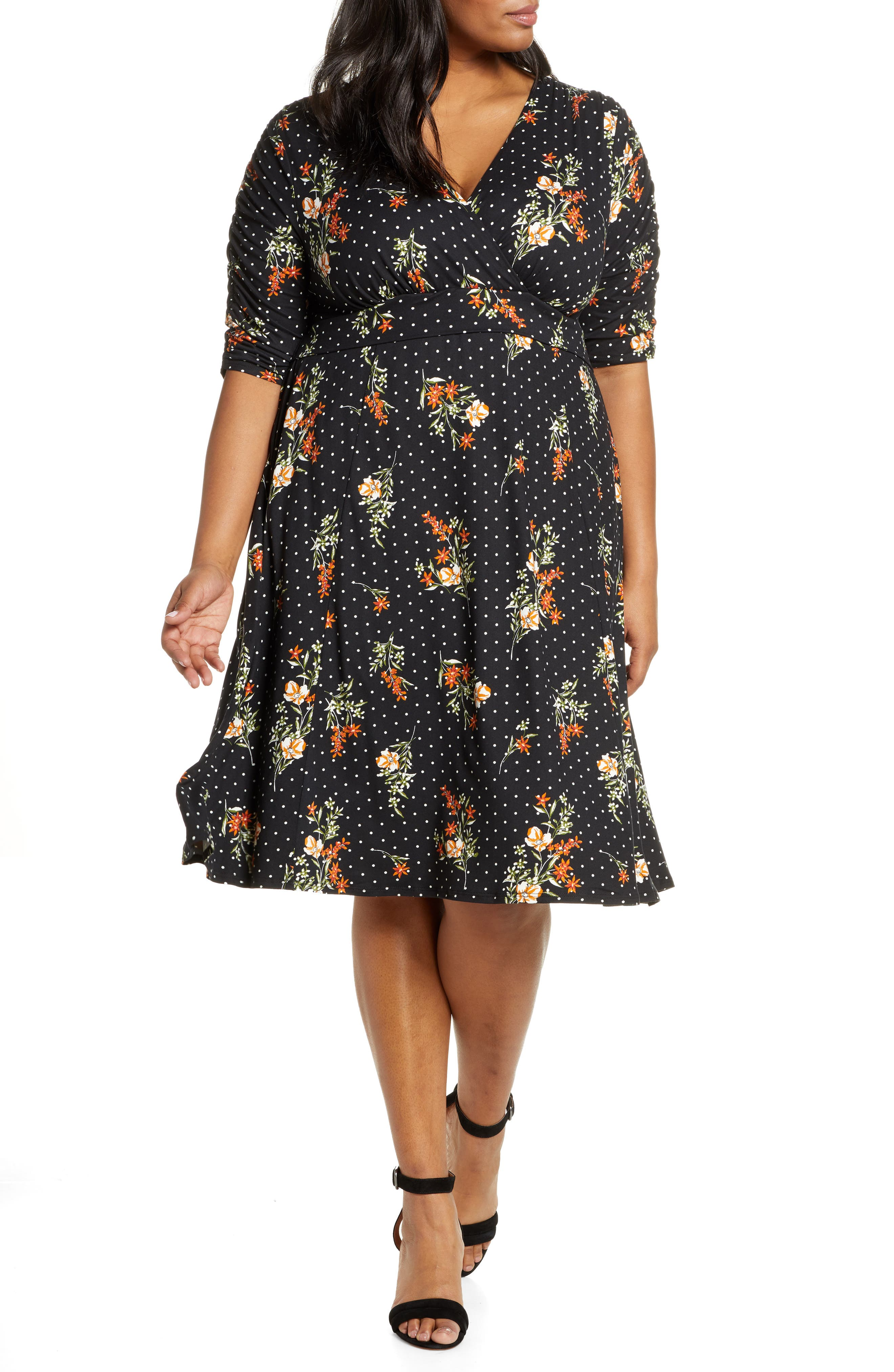 1940s Clothing Plus Size Womens Kiyonna Gabriella Print Jersey A-Line Dress $108.00 AT vintagedancer.com