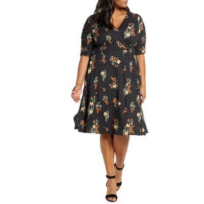 Plus Size Kiyonna Gabriella Print Jersey A-Line Dress, Black