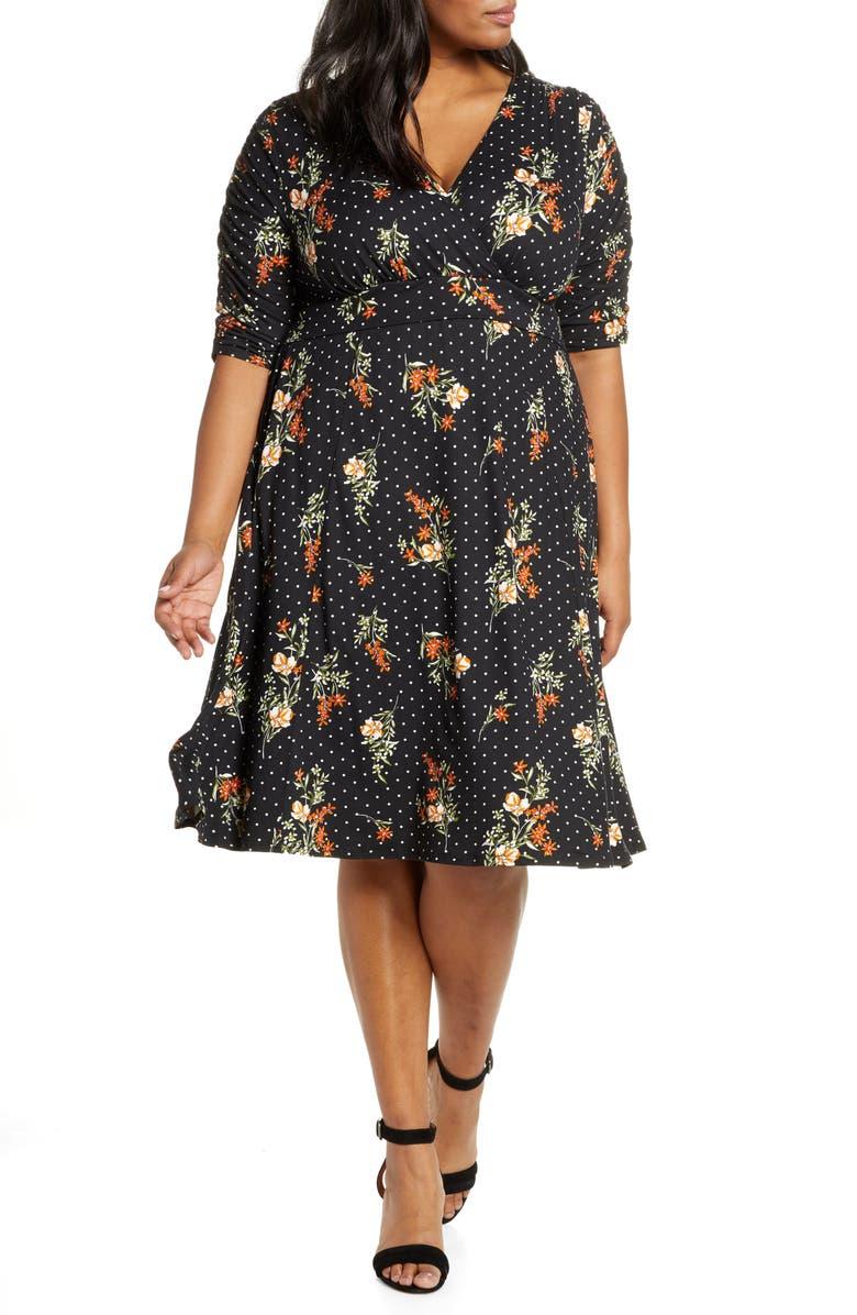 KIYONNA Gabriella Print Jersey A-Line Dress, Main, color, POPPY DOT MOTIF