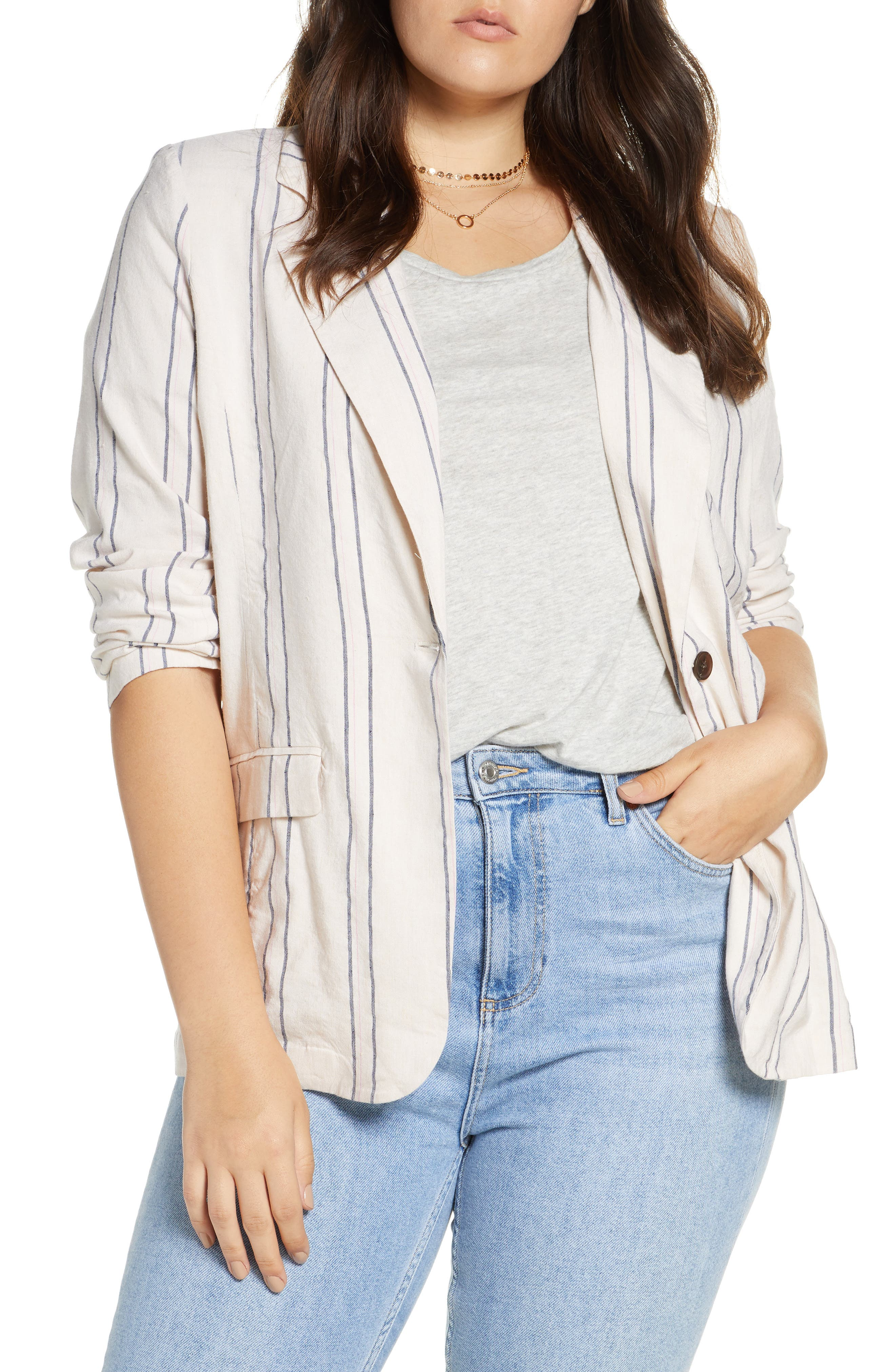 ,                             Stripe Relaxed Blazer,                             Alternate thumbnail 4, color,                             BEIGE BURNT EMMA STRIPE
