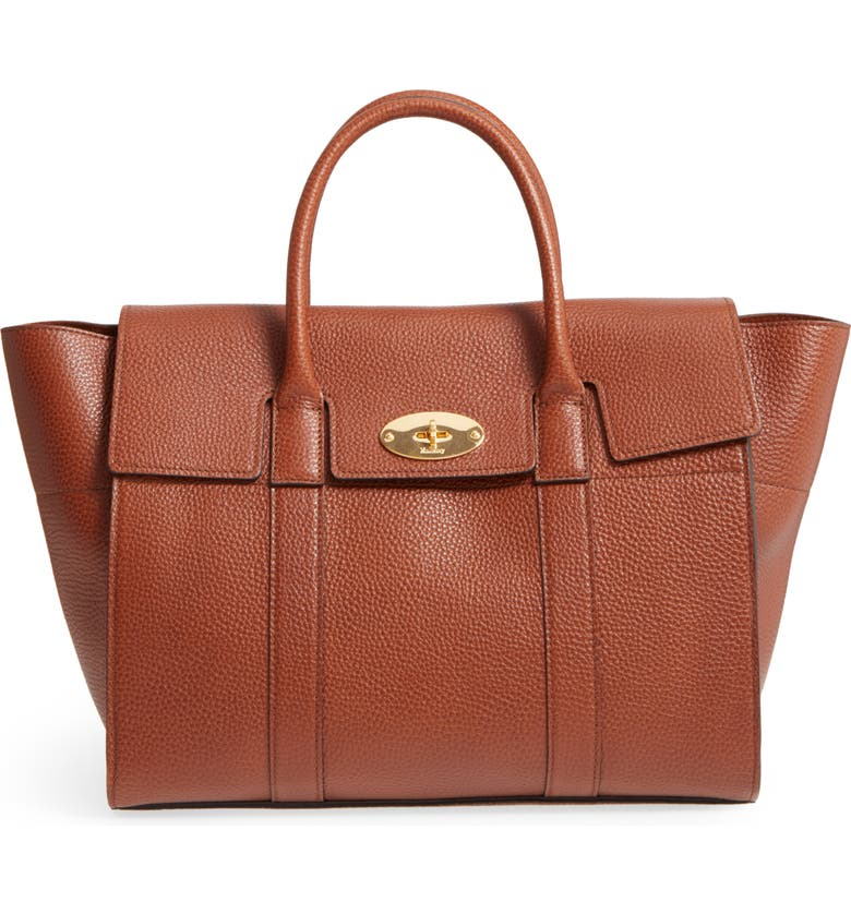 MULBERRY Bayswater Calfskin Leather Satchel, Main, color, 201