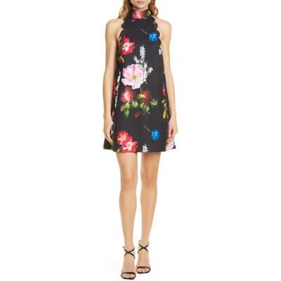 Ted Baker London Tanii Floral Scallop Shift Dress, Black