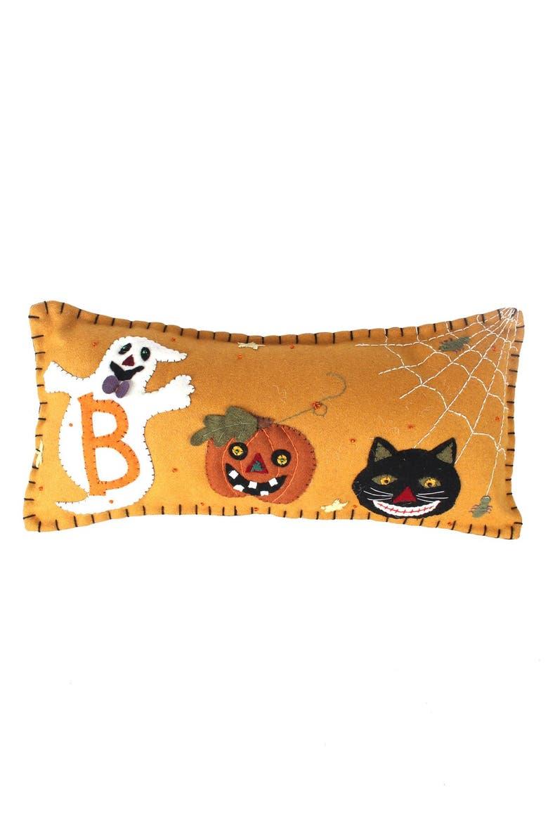 NEW WORLD ARTS Boo Accent Pillow, Main, color, ORANGE MULTI