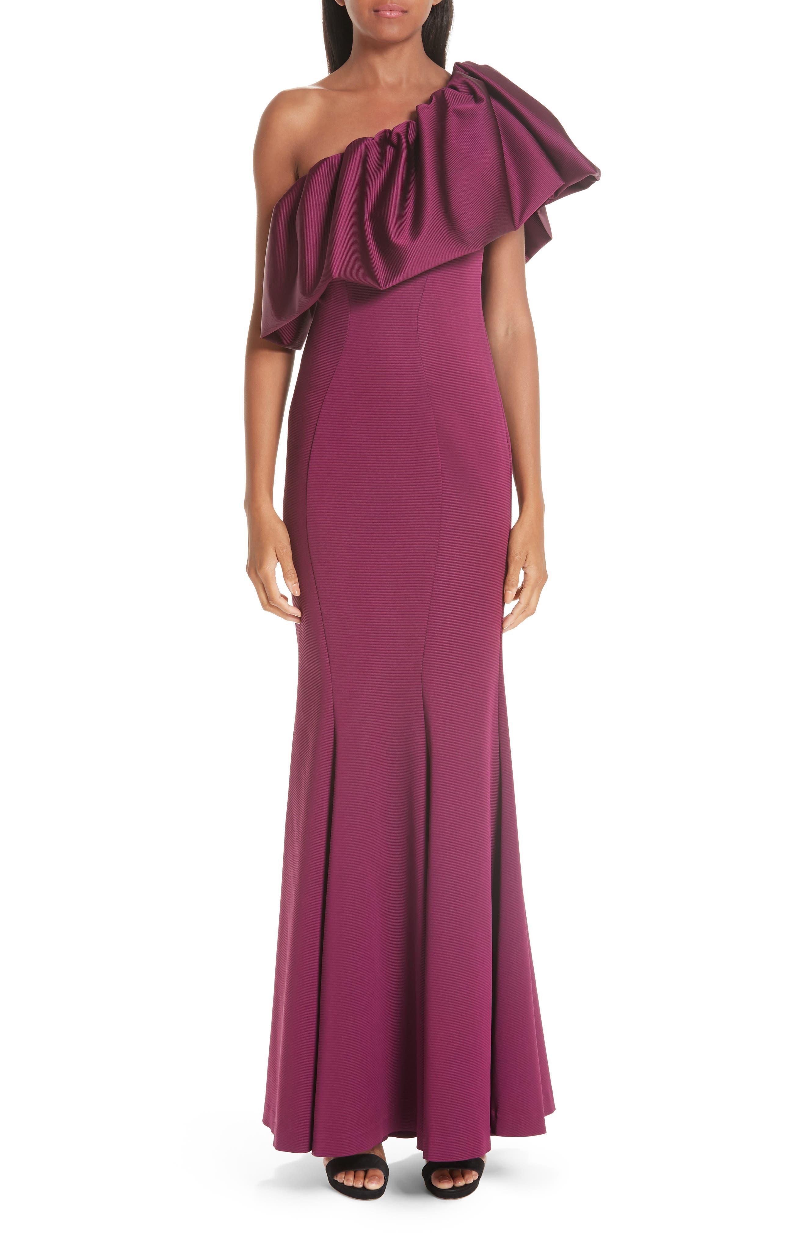 Zac Zac Posen Vaille One-Shoulder Ruffle Evening Dress, Purple