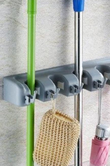 Image of Sorbus Grey Broom & Mop Wall Mounted Storage Organizer